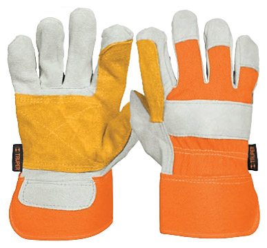 Leather Gloves with Reinforced Palm Patch and Canvas Back, Safety Cuff Truper