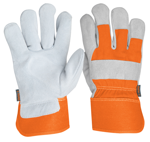 Leather Gloves with Canvas Back, Safety Cuff Truper