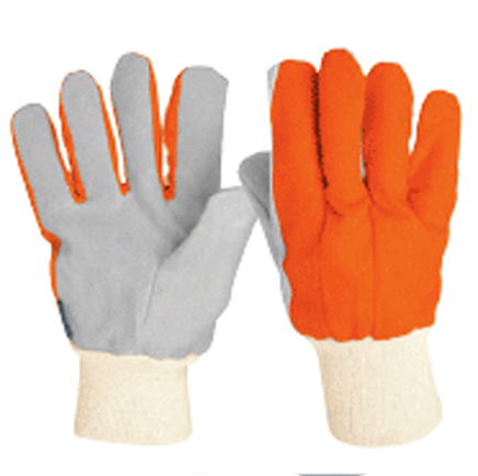 Light Duty Leather Gloves with Canvas, Knitted Cuff Truper
