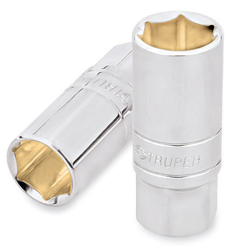 "6-Point Deep Sockets 1/2"", Standard for Spark Plug Truper"