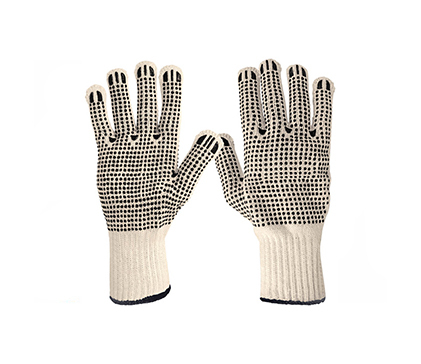 Dotted Double Sided Cotton Gloves Knitted Cuff Pretul