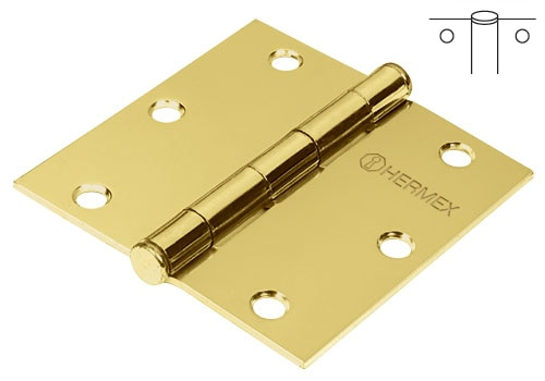 Brass Plated Steel Hinges, Flat Pin Head Hermex