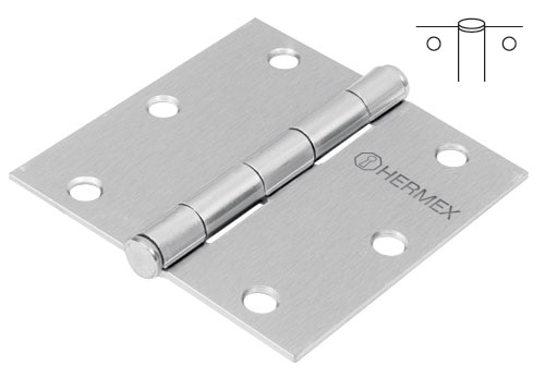 Satin Chrome Plated Steel Hinges, Flat Pin Head Hermex