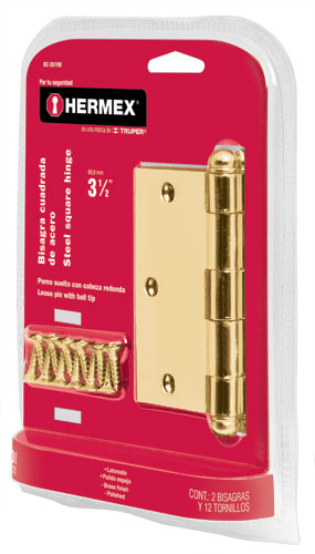 Brass Plated Steel Hinge Sets in Blister, Ball Pin Head  2-Pc Hermex
