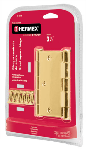 Brass Plated Steel Hinge Sets in Blister, Flat Pin Head  2-Pc Hermex