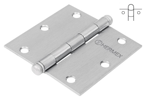Satin Chrome Plated Steel Hinges, Ball Pin Head Hermex