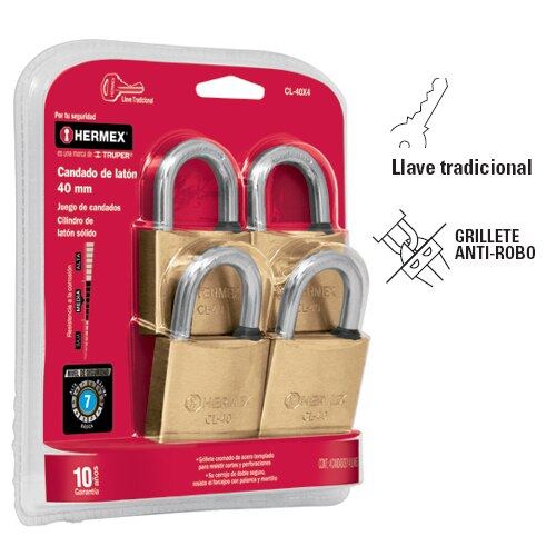 Solid Brass Padlock Set, in Blister  4-Pc Hermex