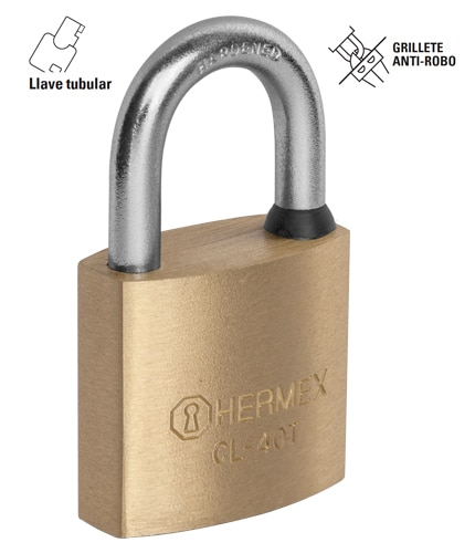 High Security Solid Brass Padlocks, Tubular Key Hermex