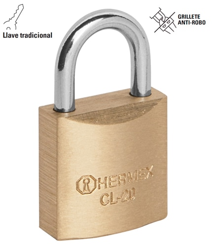 Solid Brass Padlocks, Standard Shackle, Standard Key Hermex