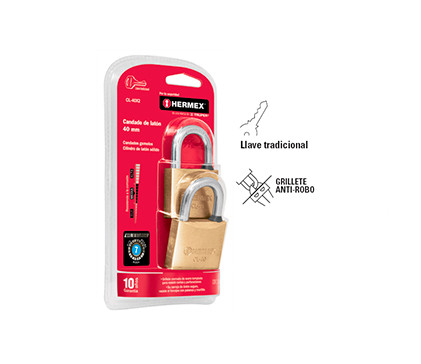 "Twin Solid Brass Padlocks, Standard Shackle, in Blister  1 9/16"" Hermex"