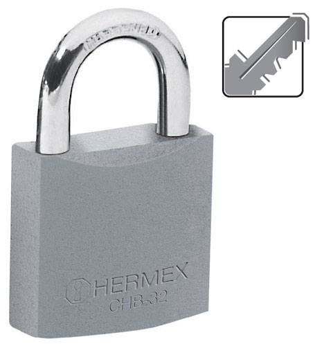 Standard Shackle Iron Padlocks, Standard Key, in Blister Hermex