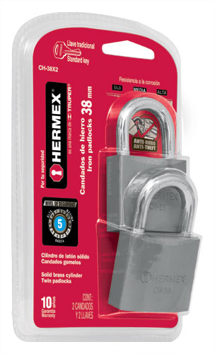 Twin Standard Shackle Iron Padlocks, Standard Key, in Blister Hermex