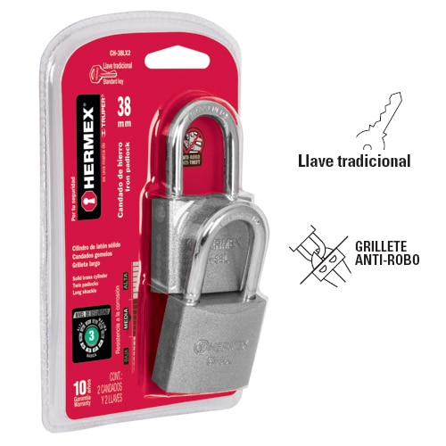 Twin Long Shackle Iron Padlocks, Standard Key, in Blister Hermex
