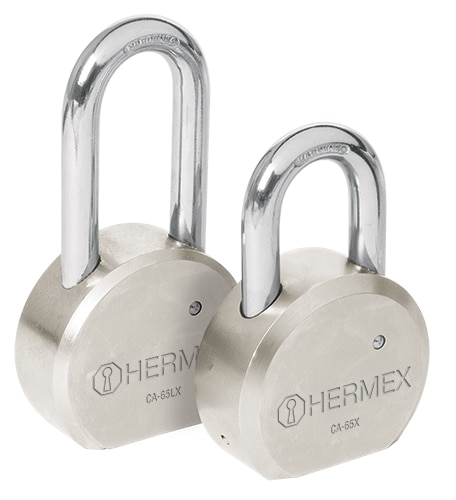 "Solid Steel Round Padlocks, Cross Key 2 1/2"" Hermex"