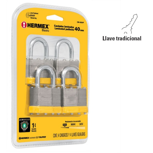Laminated Steel Padlock Sets, Standard Key 4-Pc Hermex