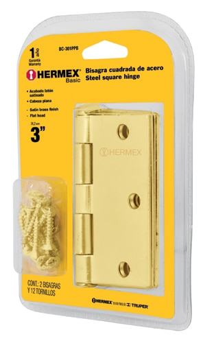 Brass Plated Steel Hinges Sets in Blister Flat Pin Head 2-pcs Hermex
