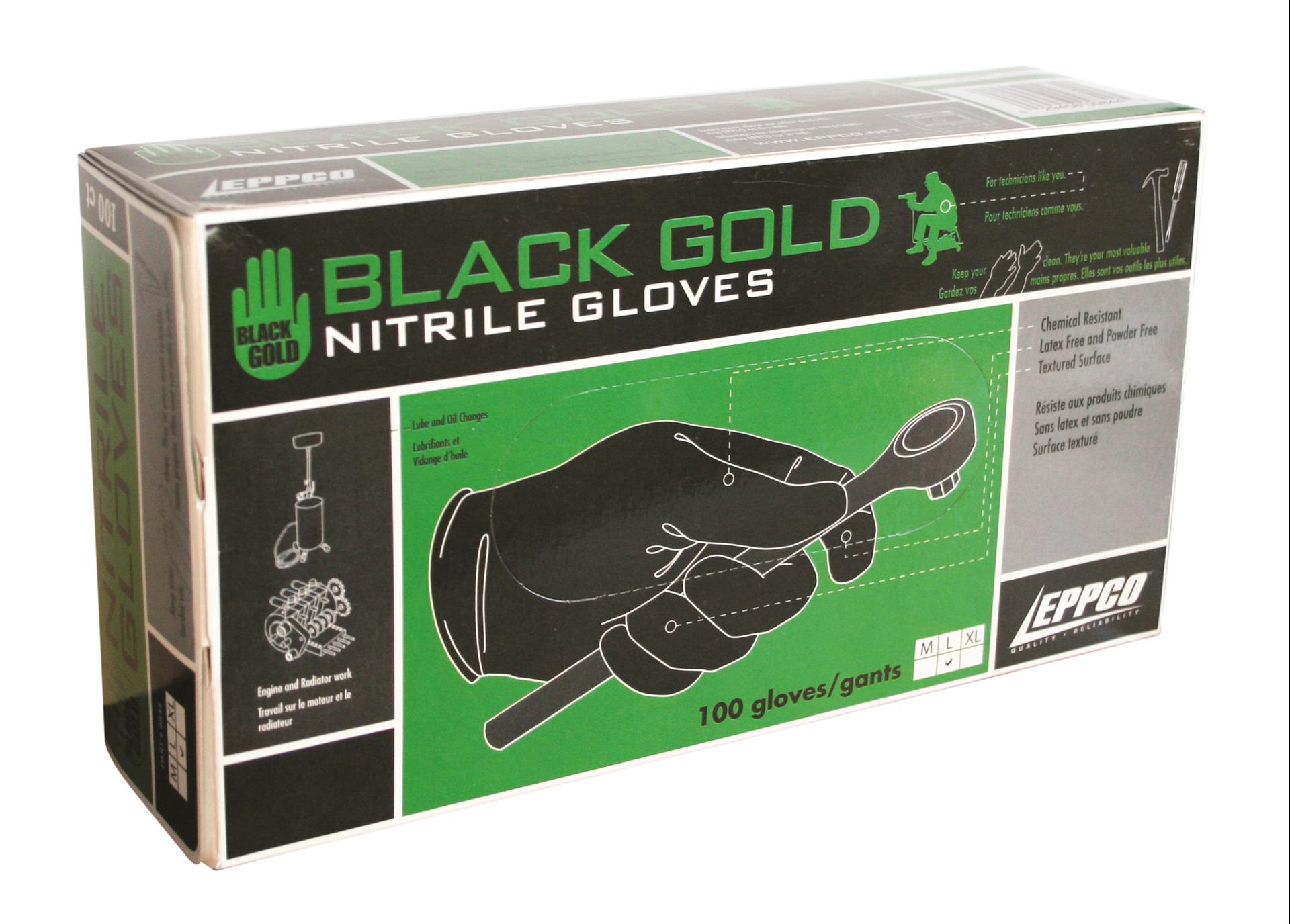Gloves Nitrile Black Gold 100 per Box Eppco