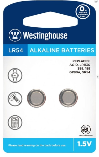 Battery Button 1.5V Alkaline, Blister 2pcs Westinghouse