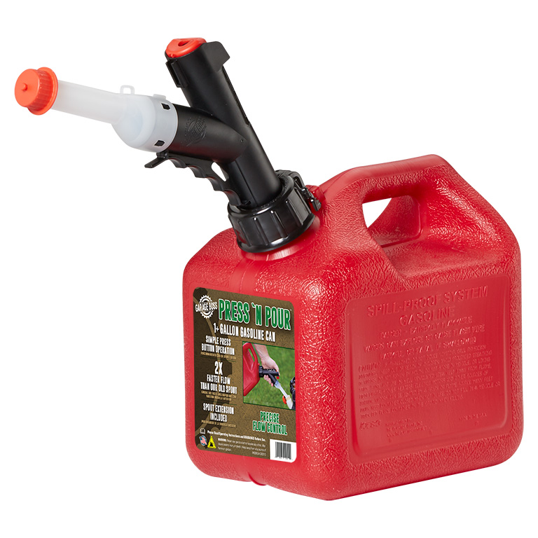 GarageBOSS Press 'N Pour Gas Can Red