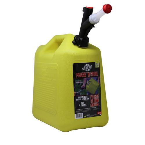 GarageBOSS Press 'N Pour Gas Can 5 Gallon Yellow